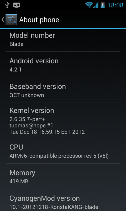 CyanogenMod 10 1 (Android 4 2 2) for ZTE Blade